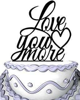 Meijiafei Love You More Cake Topper,Love Cake Topper,Wedding Cake Topper,Wedding Decor With Acrylic,Phrase Cake Topper