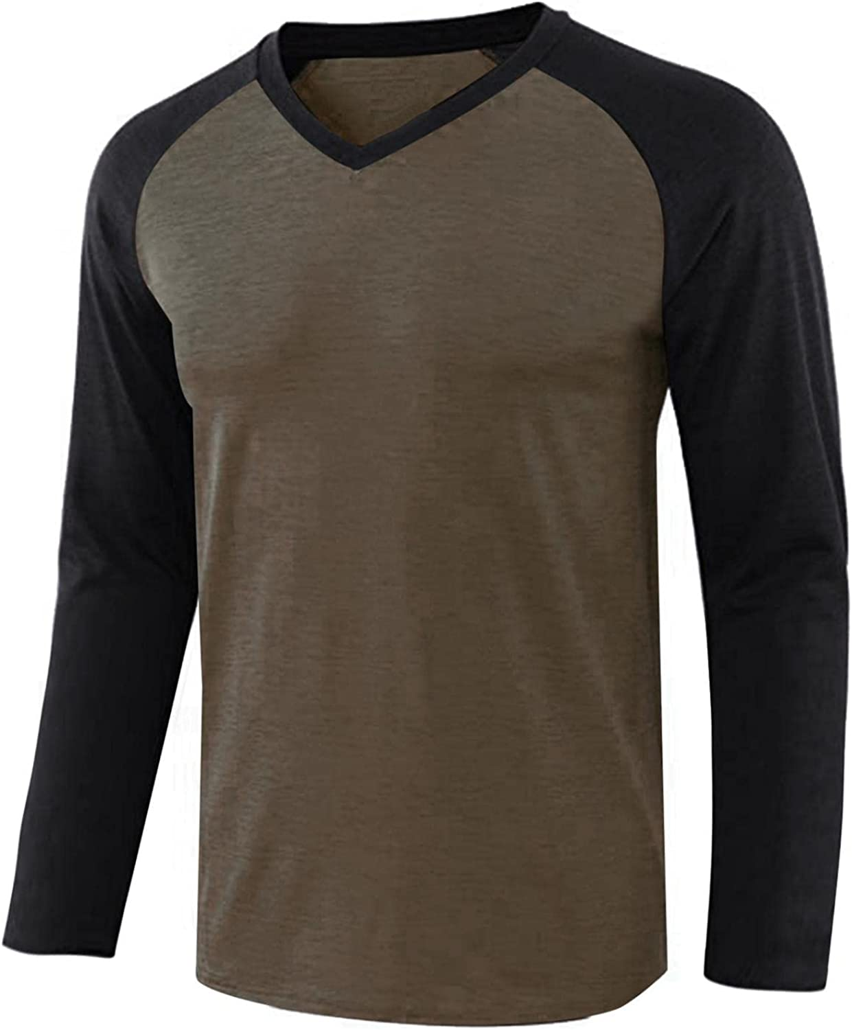 LEIYAN Mens Fashion Athletic T-Shirt Long Sleeve Beefy Casual V-Neck Slim Fit Gym Workout Tops Activewear