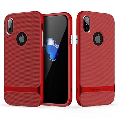 ROCK Royce Series Protective Case,Ultra thin Dual Layer Premium PC + TPU Fashion & Business Style Shockproof & Fingerprint-free Cover for iPhone X ( Color : Red )