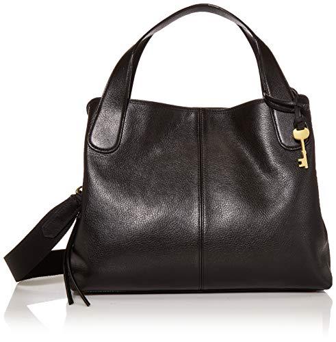 Fossil Women's Maya Leather Satchel Purse Handbag, Black