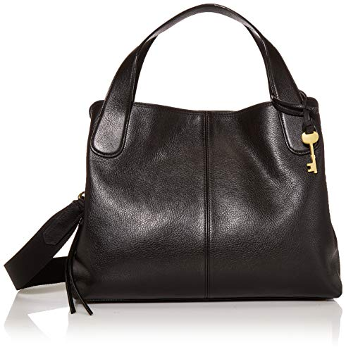 Fossil Women's Maya Leather Satchel Handbag, Black