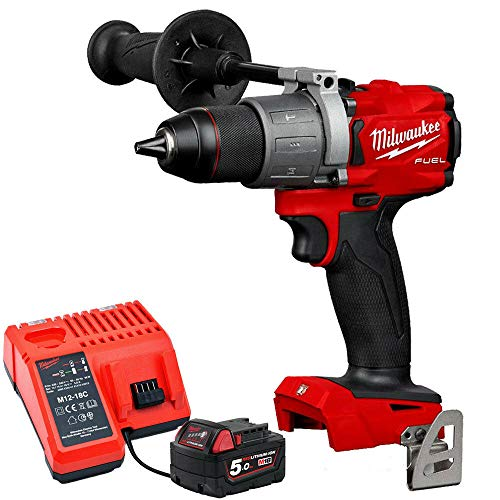 Milwaukee M18FPD2-0 18V Fuel Percussion Drill with 1 x 5.0Ah M18B5 Battery & M12-18C Charger