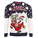 Brave Soul - Jersey navideño Merry Blitzmas para Hombre Caballero (S) (Azul Marino)