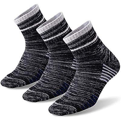 Men's Hiking Walking Socks, FEIDEER 3-Pack Wicking Cushioned Outdoor Recreation Crew Socks(Black-XL)