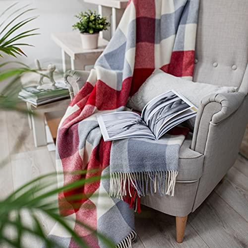 Linen und Cotton Flauschige Weiche Warme Decke Wolldecke Bunt Kariert Bolivia - 100prozent Reine Neuseeland Wolle, Rot Weiß Grau (130 x 170 cm) Plaid Schurwolldecke Wohndecke Kuscheldecke Sofadecke Lammwolle