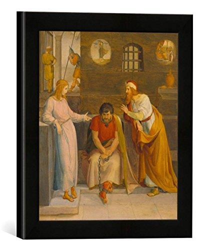Gerahmtes Bild von Friedrich Wilhelm von Schadow Traumdeutung Josephs, Kunstdruck im hochwertigen handgefertigten Bilder-Rahmen, 30x30 cm, Schwarz matt
