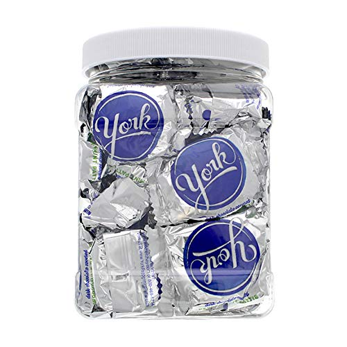 York Peppermint Patty Mini Candy Bars - 1 Pound Bulk Value Packed Chocolate Thin Mint in a 32 FL OZ Gift Ready Reusable Square Grip Jar