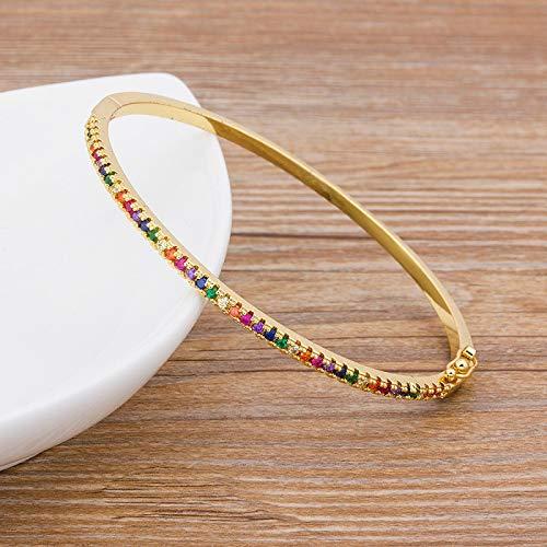 Pulsera Joyas Nuevo Diseño Encanto De Arcoíris Brazaletes De Cobre Zirconia con Diamantes De Imitación Brazalete De Joyería De Mod