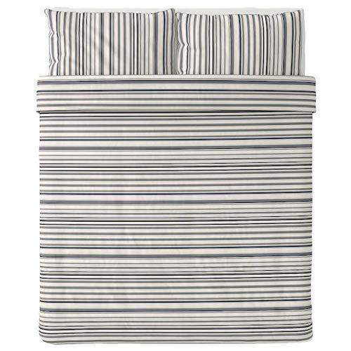 Ikea Randgras Duvet Cover and 2 Pillowcases Gray Stripe Full/Queen (Double/Queen) 504.389.56