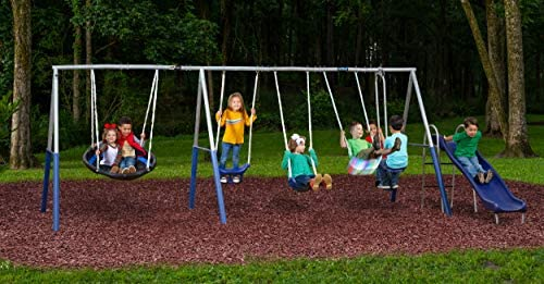 Forever Fun Plus Galvanized Swing Set with Light up Firefly Seat 6 Play Stations up to 8 Kids product image
