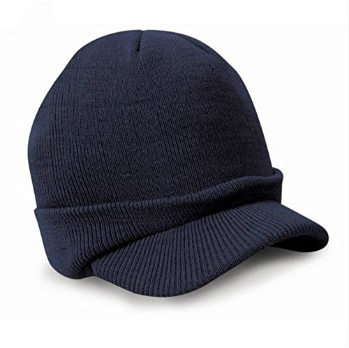 Leories Knitted Hat Windproof Cap Outdoor Warm Earflap Hat with Visor Dark Blue