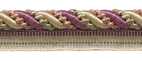 8.2 Meter Value Pack of Large Dusty Rose,Olive Green, Eggplant 11mm Imperial II Lip Cord Style# 0716I2 Color: OLIVE ROSE - 1010 (27 Ft / 8.2 Meters)