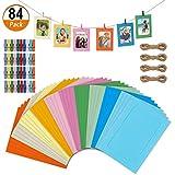 Heqishun 84 Piezas Marco de Fotos de Papel de Color, Marcos de Fotos de Cartón Kraft DIY Marco de Papel con los Clips y Cuerdas para Decoración de La Pared del Hogar, 10 Colores