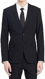 Slim Fit 2 Button Notch Lapel Stripe Bi-Stretch Jacket