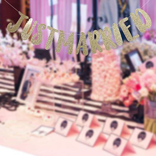 Qioniky Banner de Letras de empavesado romántico de Papel Simple, Pancarta de recién Casados, Suministros de Fiesta Accesorios de Fiesta para Adornos de Boda(Just Married-Golden)