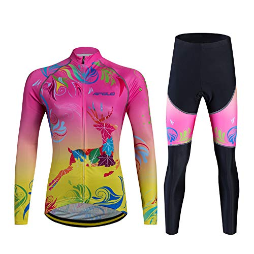 Women's Cycling Jersey Long Sleeve Suits Thermal Fleece Biking Sets Autumn and Winter