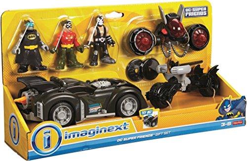 Imaginext Fisher Price - DC Súper Amigos dc súper amigos Regalo Set- Incluye Batman, Robin & Bane Mini Figuras, 3 Vehículos y accesorios