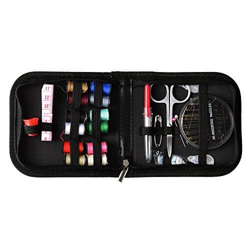 Mcbazel compacto Mini Kit de costura para el hogar, viajes, Viaje, Camping y emergencia, útil zurcir, regalo para niños, niñas principiantes y adultos - Negro