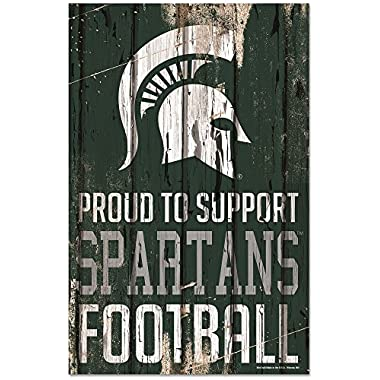 WinCraft Michigan State Spartans Official NCAA Sign 11x17 Wood by 796783