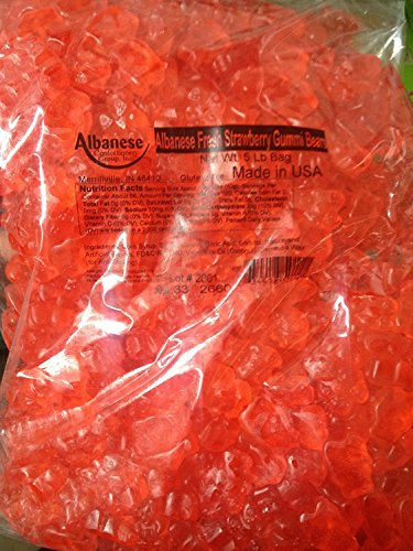ALBANESE GUMMI BEAR STRAWBERRY, 5 LBS BAG