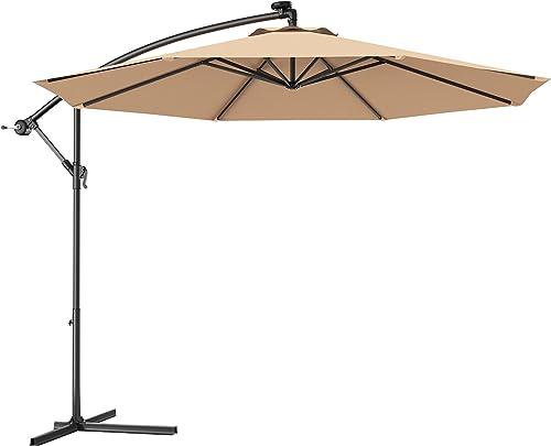 popular Giantex 10ft Offset Patio Umbrella Cantilever Umbrella, Outdoor Hanging Market Umbrella w/Crank & popular Cross Base, lowest Easy Tilt Adjustment, Outdoor Offset Umbrellas for Backyard, Poolside, Lawn and Garden ( Beige) outlet online sale