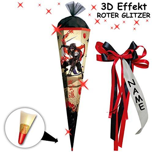 alles-meine.de GmbH 3-D Glitzer Effekt ! _ Schultüte -  Ninja Kämpfer - Samurai  - 85 cm - eckig - incl. individueller _ großer Schleife - mit Namen - Organza Abschluß - Zucker..