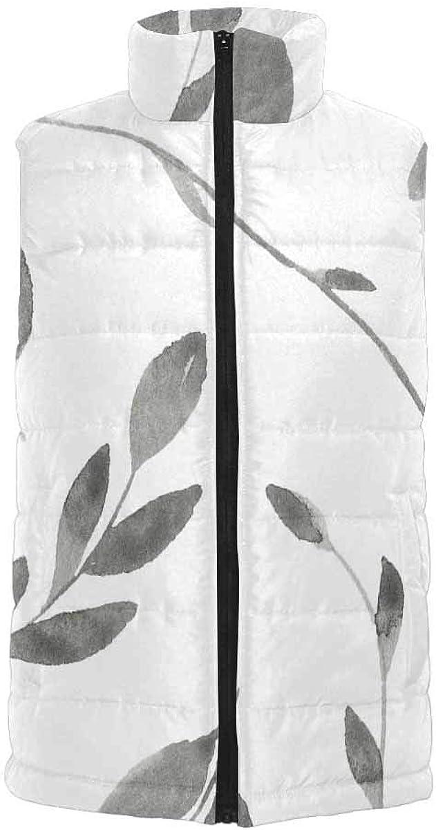 InterestPrint Men's Lightweight Keep Warm Puffer Vest for Outdoor Lavender Flowers