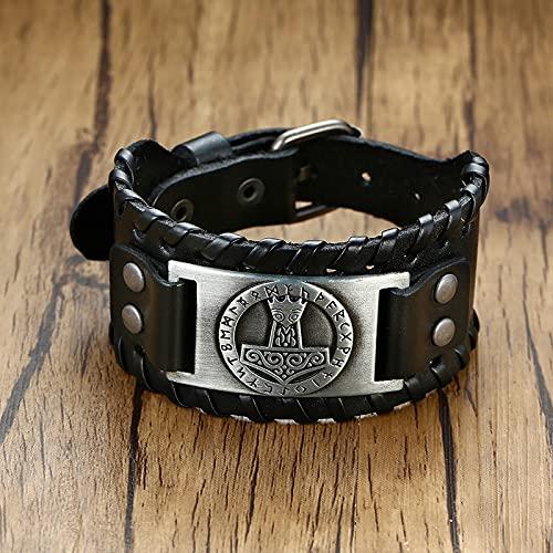 ShFhhwrl Pulsera Pulseras Anchas para Hombre Nordic Rune Hammer Wristband Black Brown Rock Vintage Jewelry Bl-605B