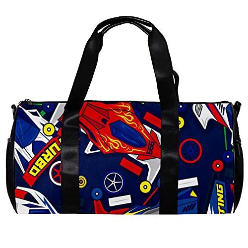 Bolsa de deporte redonda con correa de hombro desmontable de dibujos animados de carreras coche entrenamiento bolso de noche para mujeres y hombres