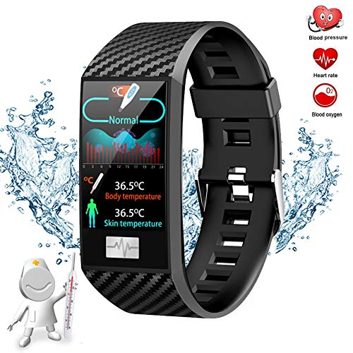 GWSPORT Temperatura Fitness Track, Muñequera Blood Health Management Sport Weather Altitude Outdoor Health Smart Watch para Mujeres Hombres,Negro