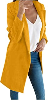 TRENDINAO Women TrenchCoat Basic Essential Mid-Long Wool Blend Pea Coat
