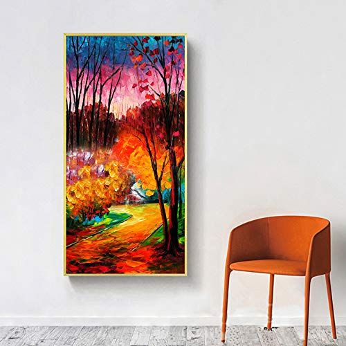N / A Messer Ölgemälde auf Leinwand abstrakte Baum Landschaft Poster und drucken Wandbild Wandbild Wohnzimmer Studie Dekoration Rahmenlos 12x24 cm
