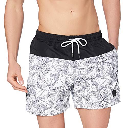 Urban Classics Low Block Swim Shorts Bañador para Hombre, Jungle Pattern/Negro, L
