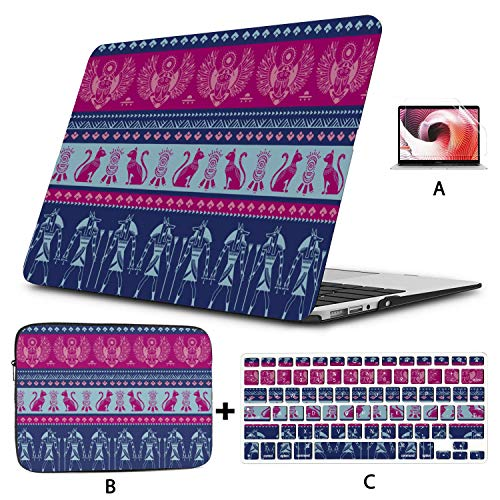 Macbook Cases Blue Ethnic Tribal Symbol Bird Wings A1466 Case Hard Shell Mac Air 11'/13' Pro 13'/15'/16' With Notebook Sleeve Bag For Macbook 2008-2020 Version