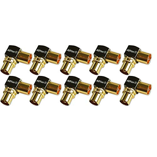 Max-X SAT Adaptador de antena coaxial (1 conector F a conector de antena IEC, 1 a conector de antena), conector coaxial para cable coaxial conector – cable de antena, dorado