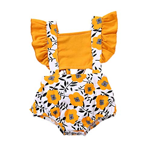 Mubineo Toddler Newborn Infant Baby Girl Ruffle Blouse Romper Summer Cute Short Jumpsuit Clothes (Q-Orange 2, 0-3 Months)