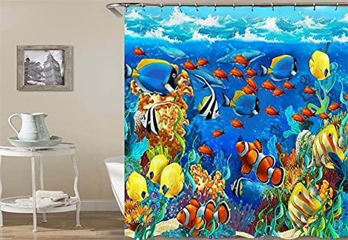 Cortina de Ducha de baño para el hogar, Tela de Cortina Impermeable con patrón de Tortuga, la decoración del baño se Puede Lavar S.1 150x200cm