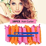 Magic Hair Curlers Spiral Curls Styling Kit, 18Pcs No Heat Hair Rollers Wave Styles with Styling Hooks DIY Hair Curlers for Women Girls Short/Medium/Long Hair Most Kinds of Hairstyles (30cm/11.81')