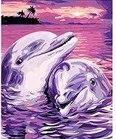 数字によるDiyの絵画数字による絵画アクリル絵の具手作りの絵画イルカ愛好家の数字による絵画家の装飾