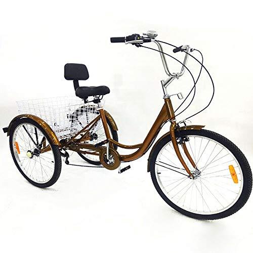 Berkalash 24'' Erwachsene Dreirad mit Lampe, 6 Geschwindigkeit 3 Räder Fahrrad Einstellbare Geschwindigkeit Mit Einkaufskorb, Golden Senioren Shopping Cargo Trike