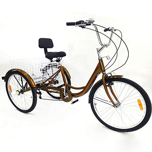 Bicicletta da 24' a 6 marce, 3 ruote, per adulti, con cestino per la spesa e schienale, per anziani, shopping, bicicletta da carico (oro senza luce)