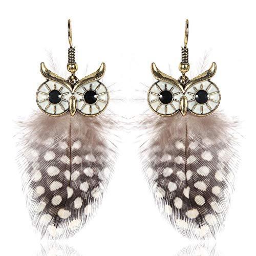 Aretes De Mujer Pendientes De Búho Colgante De Plumas De Perlas Decoración