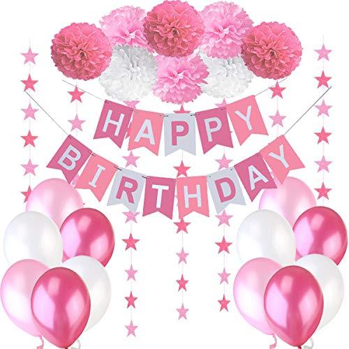 """Decoraciones Cumpleaños Nina – 1 Bandera Banderines Feliz Cumpleaños """" Happy Birthday"""" + 8 Pompon Bola de Flor + 2 Guirnaldas con Estrellas de 3 Metros + 12 Globos Rosa Fucsia Blanco"""