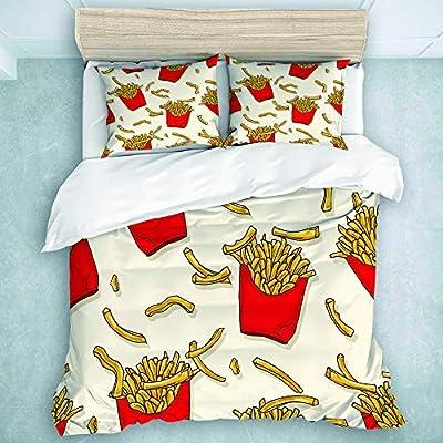 TARTINY Parure de Lit Frites 1 Housse De Couette 240 * 260cm+ 2 Taies d'oreiller 65 * 65cm