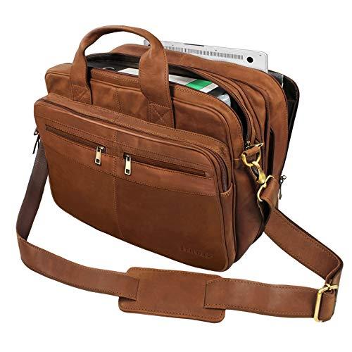 STILORD 'Alexander' Lehrertasche Herren Leder Vintage Aktentasche Laptoptasche Bürotasche Businesstasche groß XXL Umhängetasche mit Dreifachtrenner, Farbe:Sattel-braun