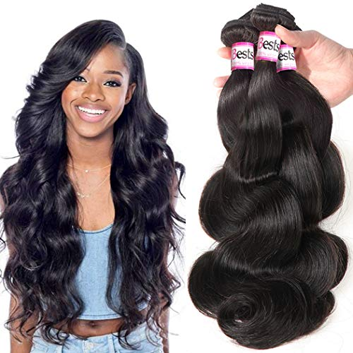 Bestsojoy 10A Brazilian Virgin Hair Body Wave 3 Bundles Remy Human Hair Weaves 100% Unprocessed Brazilian Body Wave Hair Extensions Natural Color (12 14 16)
