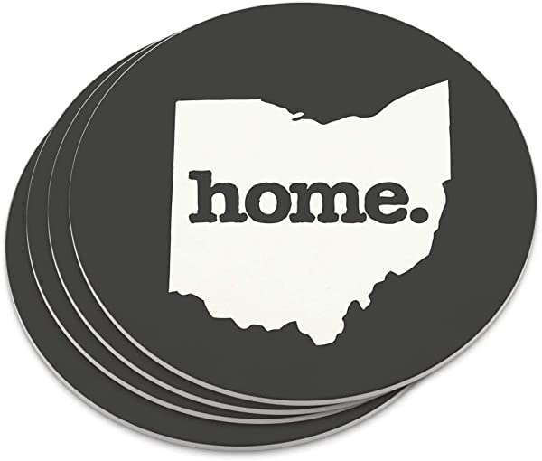Ohio OH Home State Solid Dark Gray Grey Officially Licensed Novelty Coaster Set