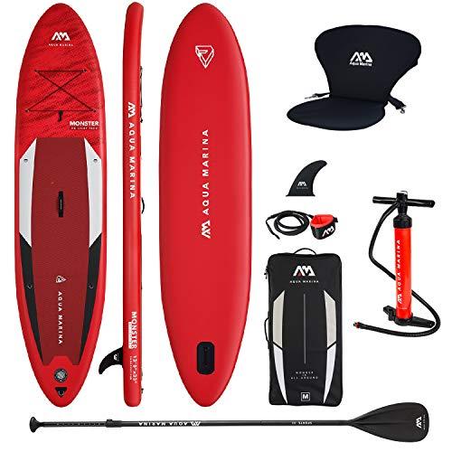 Aqua Marina Aufblasbar Sup Board Stand up Paddle AQUAMARINA Monster 2021 Komplette Packung 366x84x15cm mit Kajak Sitz