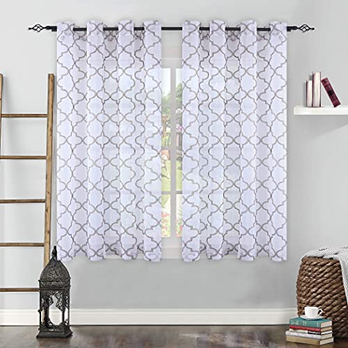 KEQIAOSUOCAI Sheer Curtains Embroidered Window Drapes 63 inches Length for Living Room Brown Moroccan Pattern on White Grommet Faux Linen Voile Panels for Bedroom 52x63