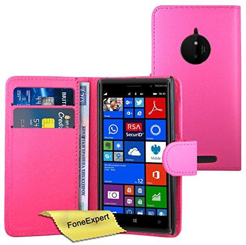 FoneExpert® Nokia Lumia 830 Hülle Wallet Hülle Flip Cover Hüllen Schutzhülle Etui Ledertasche Lederhülle Premium Schutzhülle für Nokia Lumia 830 + Bildschirmschutzfolie (Pink)
